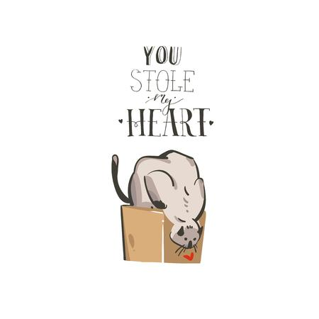 Hand drawn vector abstract modern cartoon Happy Valentines day concept illustrations card with cute cat and handwritten modern ink calligraphy text You stole my heart isolated on white background