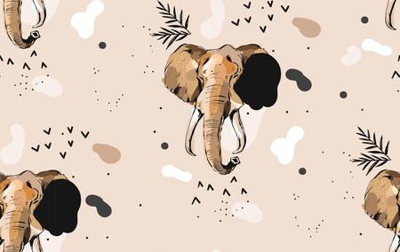 Hand drawn vector abstract creative graphic artistic illustrations seamless collage pattern with sketch elephant drawing tribal mottif isolated on khaki background.