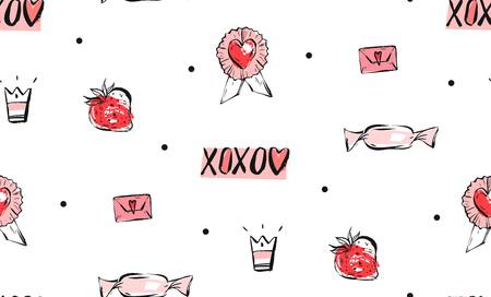 Hand drawn vector abstract ink graphic greeting happy Valentines day illustrations seamless pattern with decoration elements in pink colors isolated on white background.