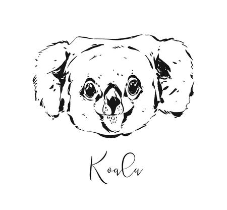 Hand drawn vector abstract artistic ink textured graphic sketch drawing illustration of wildlife cute koala head isolated on white background.
