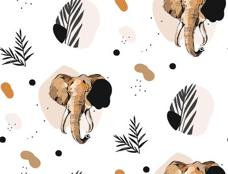 Hand drawn vector abstract creative graphic artistic illustrations seamless collage pattern with sketch elephant drawing and tropical palm leaves in tribal mottif isolated on white background. Ilustração
