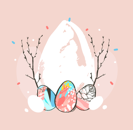 Hand drawn vector abstract graphic rustic textured collage Happy Easter cute greeting card template Easter eggs isolated on pink pastel background.