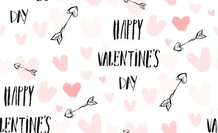 Hand drawn vector abstract ink graphic greeting happy Valentines day illustrations invitation seamless pattern with hearts,arrows and handwritten calligraphy isolated on white background