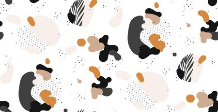 Hand drawn vector abstract creative graphic artistic illustrations seamless collage pattern with gepmetric shapes and tropical palm leaves in tribal mottif isolated on white background