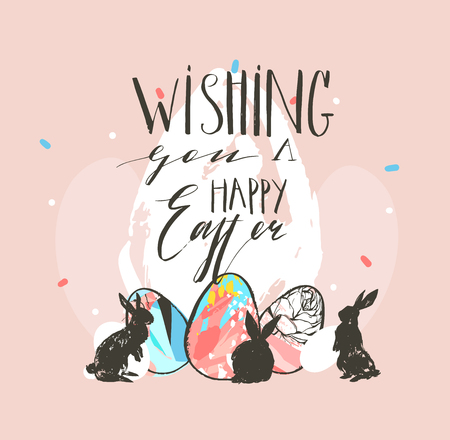 Hand drawn vector abstract graphic rustic textured collage Happy Easter cute greeting card template and bunny sketch, Easter eggs illustration and Easter calligraphy isolated on pastel background.