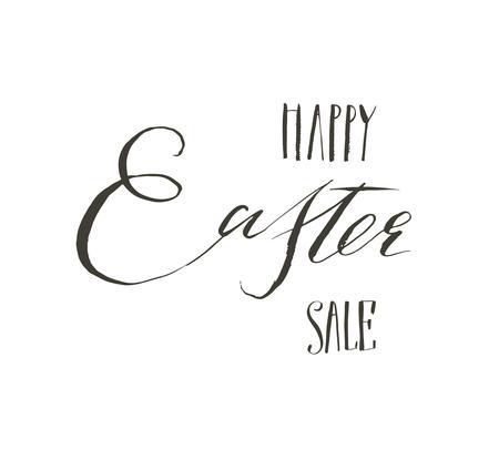 Hand drawn vector abstract graphic scandinavian Happy Easter cute greeting card template with Happy Easter Sale calligraphy lettering phases text isolated on white background. Ilustração