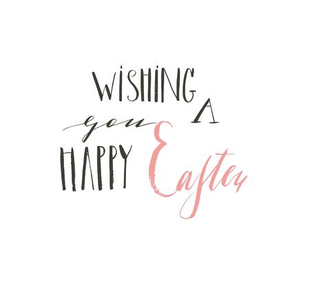Hand drawn vector abstract graphic scandinavian Happy Easter cute greeting card template with wishing you a Happy Easter calligraphy lettering phases text isolated on white background. Ilustração