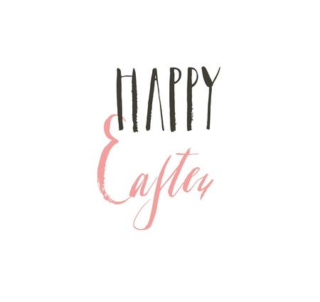 Hand drawn vector abstract graphic scandinavian Happy Easter cute greeting card template with Happy Easter calligraphy lettering phases text isolated on white background Stok Fotoğraf - 117257072