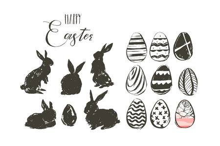 Hand drawn vector abstract graphic scandinavian collage Happy Easter cute illustrations greeting collection set with bunny silhouettes and easter eggs isolated on white background Stok Fotoğraf - 117257075