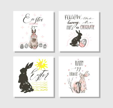 Hand drawn vector abstract graphic scandinavian collage Happy Easter cute illustrations greeting cards template collection set and Happy Easter handwritten calligraphy isolated on white background. Imagens - 116302561