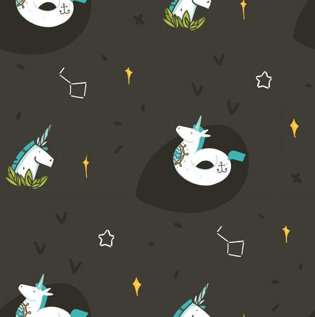 Hand drawn vector abstract graphic creative cartoon illustrations seamless pattern with cosmonaut unicorns with old school tattoo,pegasust and planets in cosmos isolated on black background. Imagens - 116302381