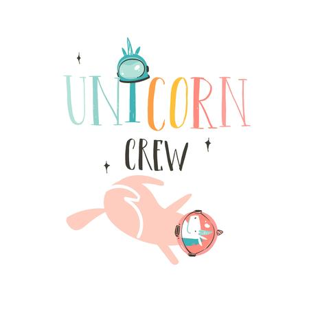 Hand drawn vector abstract graphic creative cartoon illustrations poster or print with unicorn astronaut,stars and Unicorn Crew modern handwritten calligraphy quote isolated on white background