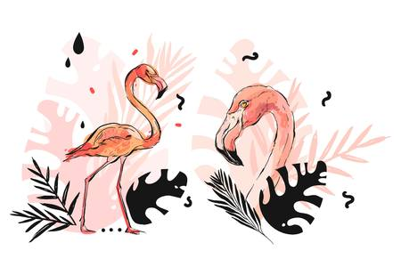 Hand drawn vector abstract graphic freehand textured sketch pink flamingo and tropical palm leaves drawing illustration collection set with modern decoration elements isolated on white background Stok Fotoğraf - 117257269