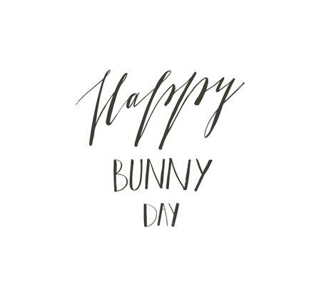 Hand drawn vector abstract graphic scandinavian Happy Easter cute greeting card template with Happy Bunny Day handwritten calligraphy phases text isolated on white background