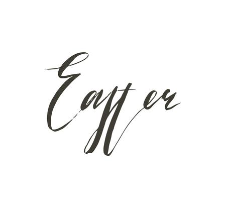 Hand drawn vector abstract graphic scandinavian Happy Easter cute greeting card template with Easter calligraphy lettering phases text isolated on white background. Ilustração
