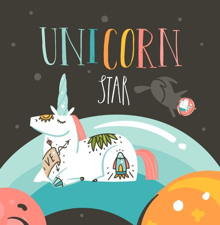 Hand drawn vector abstract graphic creative cartoon illustrations poster with unicorn with old school tattooes,stars,planets and handwritten calligraphy Unicorn star isolated on black background.