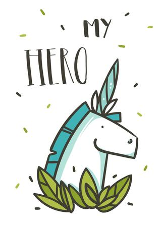 Hand drawn vector abstract graphic creative cartoon illustrations card design template with simple unicorn character,green leaves and My Hero calligraphy quote isolated on white background Stok Fotoğraf - 117257280