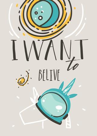 Hand drawn vector abstract graphic creative cartoon illustrations card design template with simple unicorn helmet,planets,stars and I Want to Belive calligraphy quote text isolated on grey background. Stock Illustratie