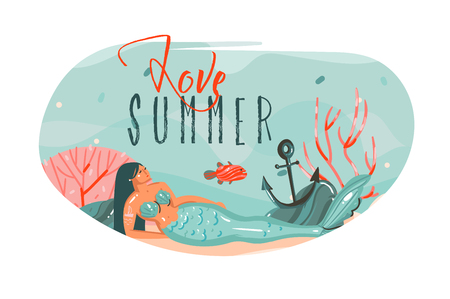 Hand drawn vector abstract cartoon summer time graphic underwater illustrations art template background with ocean bottom,beauty mermaid girl and love Summer text isolated on white. Ilustração