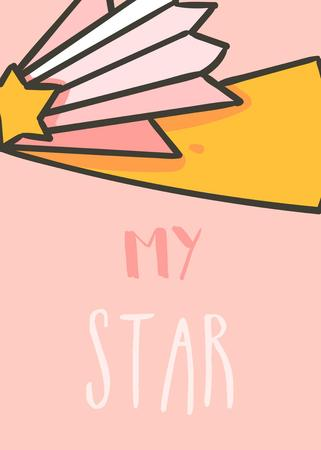 Hand drawn vector abstract graphic creative cartoon illustrations card design template with space comet star and My star calligraphy quote isolated on pink pastel background