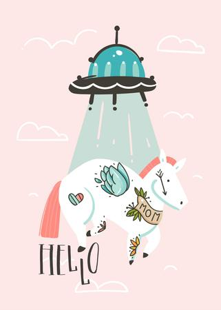 Hand drawn vector abstract graphic creative cartoon illustrations card design template with simple unicorn astronaut character and alien spaceship isolated on pink pastel background.