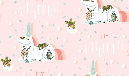 Hand drawn vector abstract graphic creative cartoon illustrations seamless pattern with cosmonaut unicorns ,comets and planets in space isolated on pink pastel confetti colored abstract background. Ilustração