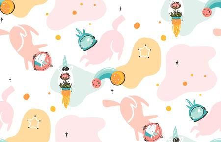 Hand drawn vector abstract graphic creative cartoon illustrations seamless pattern with cosmonaut unicorns with helmets ,comets and planets in cosmos isolated on white abstract background.