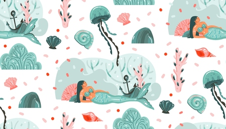 Hand drawn vector abstract cartoon graphic summer time underwater illustrations seamless pattern with jellyfish,fishes and beauty bohemian mermaid girls characters isolated on white background Stok Fotoğraf - 117257471