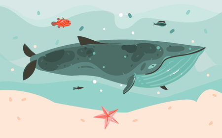 Hand drawn vector abstract cartoon summer time graphic illustrations art template background with ocean bottom,big whale,corals,seaweed isolated on blue water waves  イラスト・ベクター素材