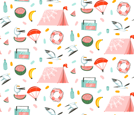 Hand drawn vector abstract cartoon summer time graphic illustrations artistic seamless pattern with beach gull birds,camping tent,watermelon and banana fruits isolated on white background. Stock Illustratie