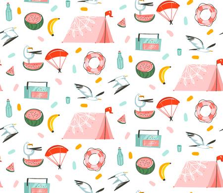 Illustrations graphiques d'heure d'été de dessin animé abstrait de vecteur dessiné à la main modèle artistique sans couture avec des oiseaux de mouette de plage, tente de camping, fruits de pastèque et de banane isolés sur fond blanc. Vecteurs