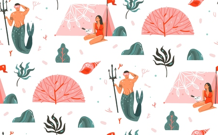 Hand drawn vector abstract cartoon graphic summer time underwater illustrations seamless pattern with mermaid man,coral reefs,girl in bikini and beach tent isolated on white background Illustration