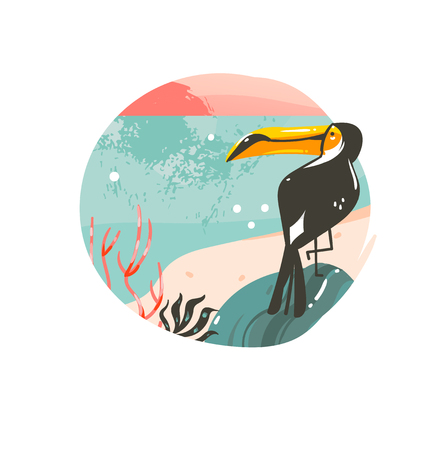 Hand drawn vector abstract cartoon summer time graphic illustrations template background badge design with ocean beach landscape,pink sunset and beauty toucan bird with copy space place for your text.