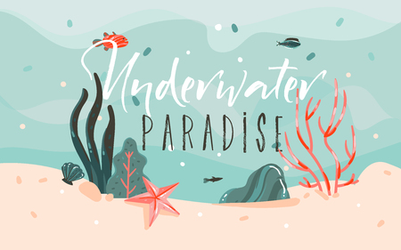 Hand drawn vector abstract cartoon summer time graphic illustrations template background with ocean bottom,corals reefs,seaweed and Underwater Paradise typography quote isolated on blue water waves. Иллюстрация