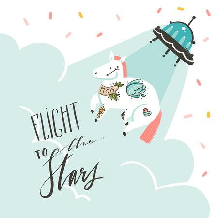 Hand drawn vector abstract graphic creative artistic cartoon illustrations poster background with flying horse with old school tattooes,alien spaceship and handwritten calligraphy Flight to the stars Illustration