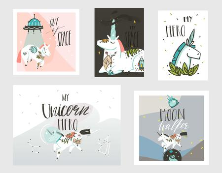 Hand drawn vector abstract graphic creative cartoon illustrations cards collection set template with astronaut unicorns with old school tattoo,planets and spaceship isolated on pastel background. Ilustracja
