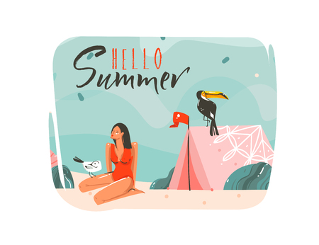 Hand drawn vector abstract cartoon summer time graphic illustrations art template background with ocean beach landscape,pink tent,toucan bird and beauty girl with Hello Summer typography quote text