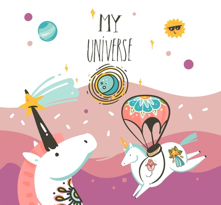 Hand drawn vector abstract graphic creative artistic cartoon illustrations poster background with astronaut unicorns with old school tattoo,handwritten calligraphy isolated on pastel background