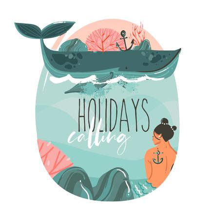 Dibujado a mano vector abstracto dibujos animados verano tiempo ilustraciones gráficas arte plantilla imprimir logo fondo con belleza sirena chica, ballena y vacaciones llamando tipografía cita aislada en olas