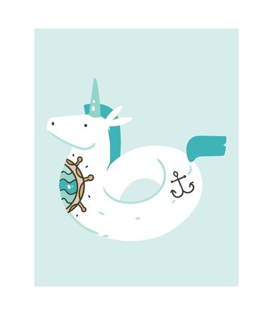 Hand drawn vector abstract graphic creative cartoon illustrations icon with simple unicorn swimming pool float buoy ring with old school tattoo isolated on white background.