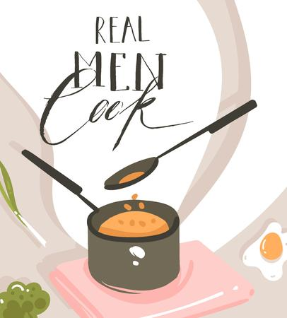 Hand drawn vector abstract modern cartoon cooking class illustrations poster with preparing food scene,saucepan,spoon and handwritten calligraphy text Real Men cook isolated on white background.