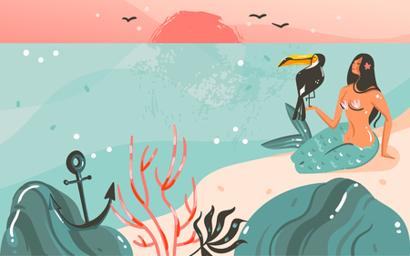 Hand drawn vector abstract cartoon summer time graphic illustrations template background with ocean beach landscape,sunset and beauty girl mermaid,toucan bird with copy space place for your text.