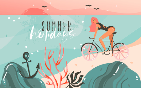 Hand drawn vector abstract cartoon summer time graphic illustrations template background with ocean beach landscape,sunset,beauty girl on bicycle and Summer Holidays typography quote text.