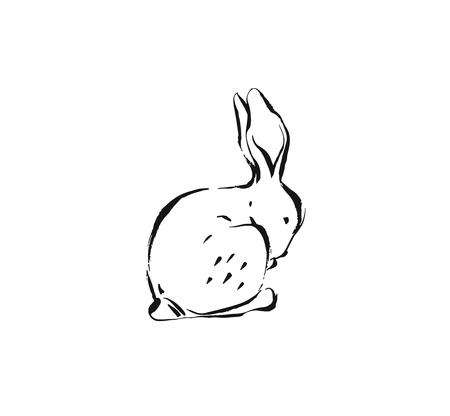 Hand drawn vector abstract ink sketch graphic drawing Happy Easter cute simple bunny illustrations elements for your design isolated on white background Illustration