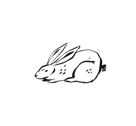 Hand drawn vector abstract ink sketch graphic drawing Happy Easter cute simple bunny illustrations elements for your design isolated on white background.