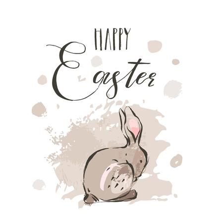 Hand drawn vector abstract ink sketch graphic drawing Happy Easter cute simple bunny illustrations greeting card poster and handwritten calligraphy Happy Easter isolated on white background. Ilustracja