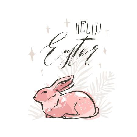 Hand drawn vector abstract ink sketch graphic collage drawing Happy Easter cute simple bunny illustrations greeting card poster and handwritten calligraphy Hello Easter isolated on white background.