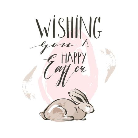 Hand drawn vector abstract sketch graphic collage Happy Easter cute simple bunny illustrations greeting card poster and handwritten calligraphy Wishing you a Happy Easter isolated on white background.