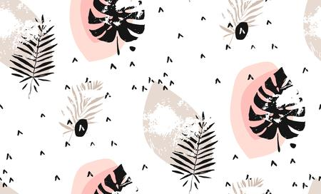 Hand drawn vector abstract graphic scandinavian freehand textured modern memphis style simple Tropical leaves seamless pattern isolated on white background.