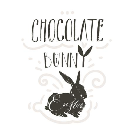 Hand drawn vector abstract graphic scandinavian collage Happy Easter cute simple bunny illustrations greeting card and handwritten modern calligraphy Chocolate bunny isolated on white background
